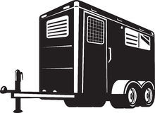 Horse trailer viewed from low angle. Illustration of a horse trailer done in retro style viewed from low angle on isolated white background vector illustration