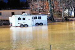 Horse Trailers. Two horse trailers caught in the flooding in Northern Al.  More then 6 inches of rain fell in one day Stock Photos