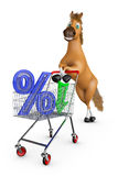 Horse with trolley and percent Stock Photography