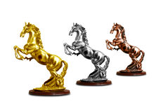 Horse trophy. Gold, Silver and Bronze horse trophy Royalty Free Stock Image