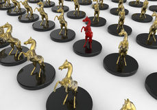 Horse trophy target in crowd concept. 3D render illustration of multiple horse trophies arranged in a pattern over a white background. One trophy is colored in Stock Images