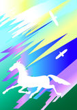 Horse and two birds. White silhouettes of horse and two birds on a colorful background Stock Images