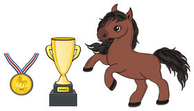 Horse with two gold symbols of sport. Brown horse stand with gold cup and gold medal at ribbon Stock Photos