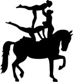 Horse Vaulting of three women Royalty Free Stock Photo