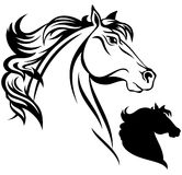 Horse vector. Horse head illustration - black and white outline and silhouette Royalty Free Stock Image