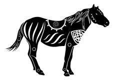 Horse. Vector Chinese Style Horse Silhouette Royalty Free Stock Images