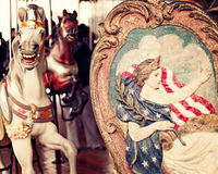 Horse in a vintage carousel. Horse in a vintage pastel carousel Stock Photos