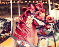 Horse in a vintage carousel. Horse in a vintage pastel carousel Royalty Free Stock Photos