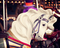 Horse in a vintage carousel. Horse in a vintage pastel carousel Royalty Free Stock Photo