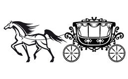 Horse with vintage carriage stock photography