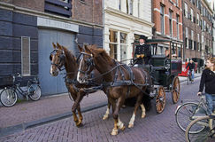 Horse and Wagon in Amsterdam, Holland Stock Photography