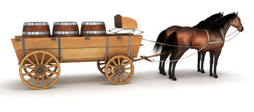 Horse wagon with barrels Stock Images