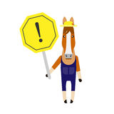 Horse with a warning sign Royalty Free Stock Photography