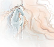 Horse watercolor painting. On whie background Stock Photos