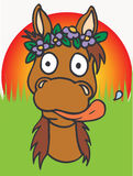 Horse wearing flowers Stock Photos