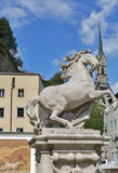 Horse Well in Salzburg with a horse sculpture Royalty Free Stock Photography