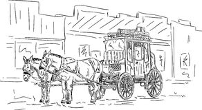 Horse western carriage royalty free illustration