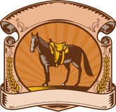 Horse Western Saddle Scroll Woodcut. Illustration of a riderless horse with old style western saddle on ranch fence set inside oval shape with scroll and laurel Stock Image