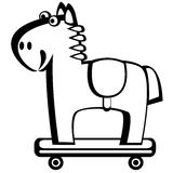 Horse on wheels isolated on white Royalty Free Stock Photos