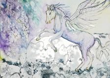 Horse with wings in stormy weather. vector illustration