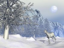 Horse in winter - 3D render Royalty Free Stock Image