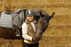 Horse and woman. Royalty Free Stock Images