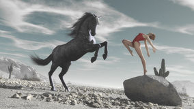 Horse and woman Royalty Free Stock Photography