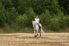 Horse and woman Royalty Free Stock Photo