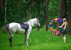 Horse and woman Royalty Free Stock Photos