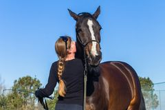 Free Horse Woman Patting Training Affection Outdoors Royalty Free Stock Images - 142415039