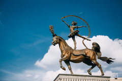 Horse woman sculpture near Building of the Belarusian State Circus Stock Photo