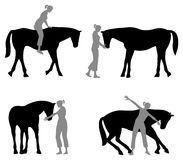 Horse woman silhouette Stock Images