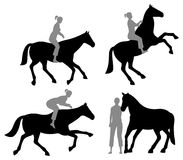 Horse woman silhouette Royalty Free Stock Images