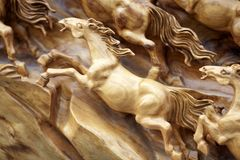 Horse wood carve Royalty Free Stock Photos