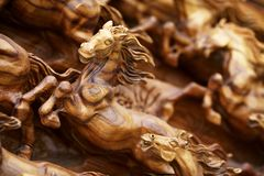 Horse wood carve Royalty Free Stock Photo