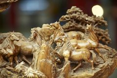 Horse wood carve Stock Image