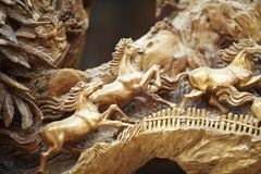 Horse wood carve Royalty Free Stock Photography