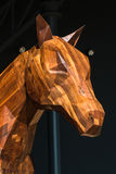 Horse Wooden Sculpture: Brown Woodcarving Statue Stock Image