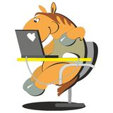Horse working on the computer 004 Stock Photos