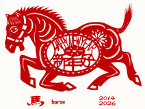 Horse year. Chinese Zodiac of Horse Year. Three Chinese characters on the horse's body mean happy new year, it pronounced SHEEN NANE HOW in Chinese, and horse in Stock Photo