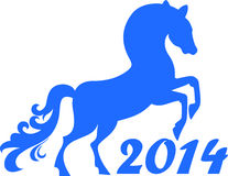 Horse Year 2014. Chinese Year of blue horse 2014. Horse-symbol of the New Year 2014 Royalty Free Stock Image