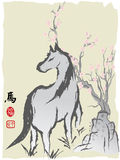 Horse year chinese painting. The Chinese painting of horse for Chinese horse new year Royalty Free Stock Photography