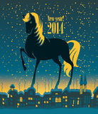 Horse 2014. Year horses in old night city Royalty Free Stock Image