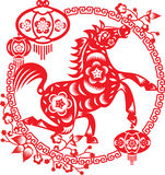Horse. Of the year, illustration design around the Plum blossom frame with lanterns Royalty Free Stock Image