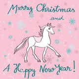 Horse year pink card. Christmas and New Years greetings card with horse cartoon over a grungy background with dots and snowflakes vector illustration