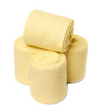 Horse yellow bandages isolated on white Royalty Free Stock Photography