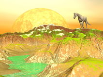 Horse in yellow mountains - 3D render. Beautiful white horse standing on a hill in the mountain next to a big full moon and with grass near a green river Royalty Free Stock Image