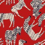 Horse zebra abstract coloring red background Royalty Free Stock Image