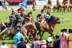 Horseback archers at Nadaam Opening Ceremony Royalty Free Stock Photography