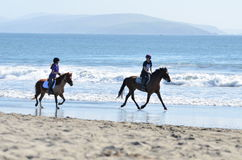 Horseback on the Beach Stock Photo